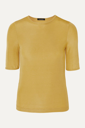 Gold Sign The Bound Ribbed Stretch-jersey T-shirt - Yellow