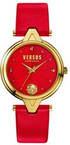 Versus By Versace Women's 'V' Quartz Stainless Steel and Leather Casual Watch, Color:Red (Model: SCI140016)