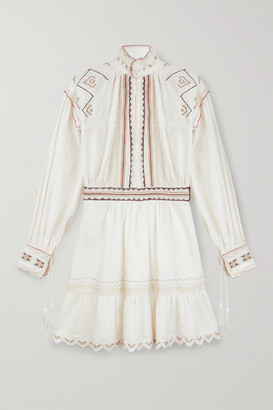 Etro Embroidered Cotton Mini Dress - White