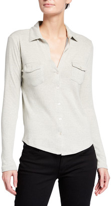 Majestic Filatures Cotton-Cashmere Double Face Button Down Top