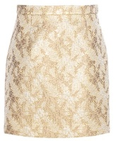 Michael Kors Metallic Jacquard Wool And Silk-blend Miniskirt
