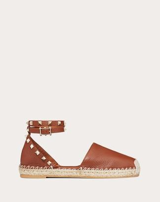 Valentino Grain Calfskin Leather Rockstud Double Flat Espadrilles Women Brown Calfskin 100% 35