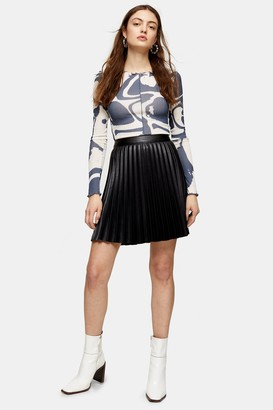 Topshop Womens Black Pleated Pu Mini Skirt - Black