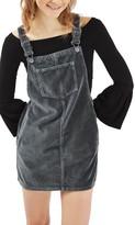 Topshop Petite Women's Velvet Pinafore Dress