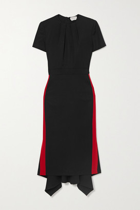 Alexander McQueen Striped Grain De Poudre Wool Midi Dress - Black