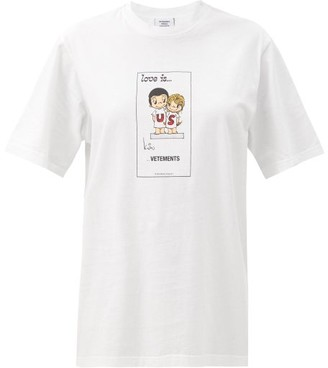 Vetements Love Is? Us Cotton-jersey T-shirt - White Multi
