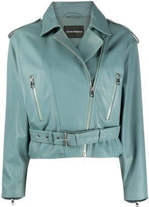 Emporio Armani Cropepd Belted Biker Jacket