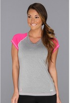 Fila Fight Against Breast Cancer Performance V-Neck Tee Shirt (Gray Heather/Pink Glow/Lilac Sachet) - Apparel