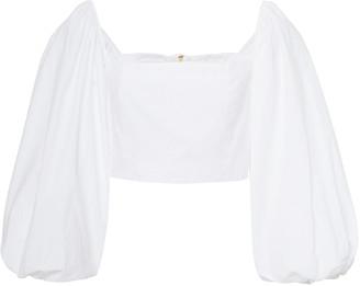 Cara Sagaponack Cotton-Poplin Cropped Blouse