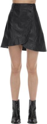 Ganni Asymmetrical Leather Mini Skirt