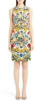 Dolce & Gabbana Tile Print Ruched Charmeuse Dress