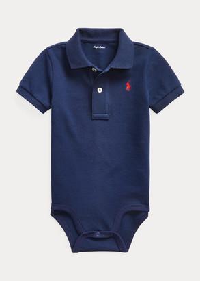 Ralph Lauren Cotton Mesh Polo Bodysuit
