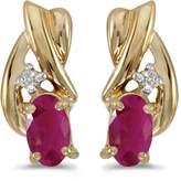 Direct-Jewelry 14k Yellow Gold Oval Ruby And Diamond Earrings