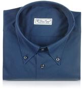 Forzieri Blue Roses - Solid Blue Button Down Cotton Dress Shirt