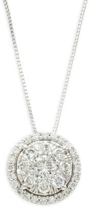 Effy 14K White Gold & Diamond Round Pendant Necklace