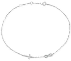 Giani Bernini Cross & Infinity Ankle Bracelet in Sterling Silver, Created for Macy's
