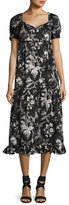 McQ Ruffle Floral-Print Né;gligé;e Dress, Black