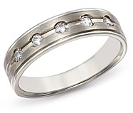 Bloomingdale's Men's Diamond Five-Stone Band in Brushed 14K White Gold, 0.20 ct. t.w. - 100% Exclusive
