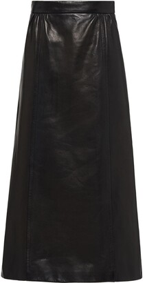 Prada A-line leather skirt