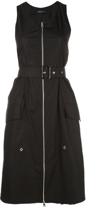 Derek Lam Belted Organic Cotton Tank Dress with Topstitch Detail