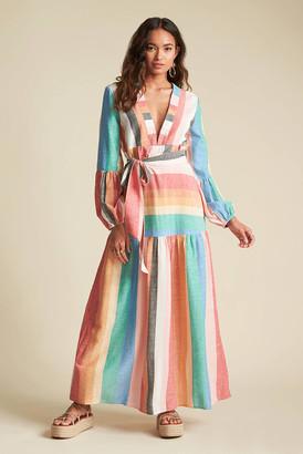 Billabong x Sincerely Jules Mix It Up Rainbow Maxi Dress Multi M