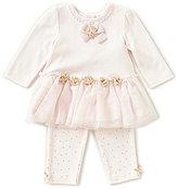 Little Me Baby Girls 3-12 Months Rose-Appliqued Tutu Dress & Printed Leggings Set