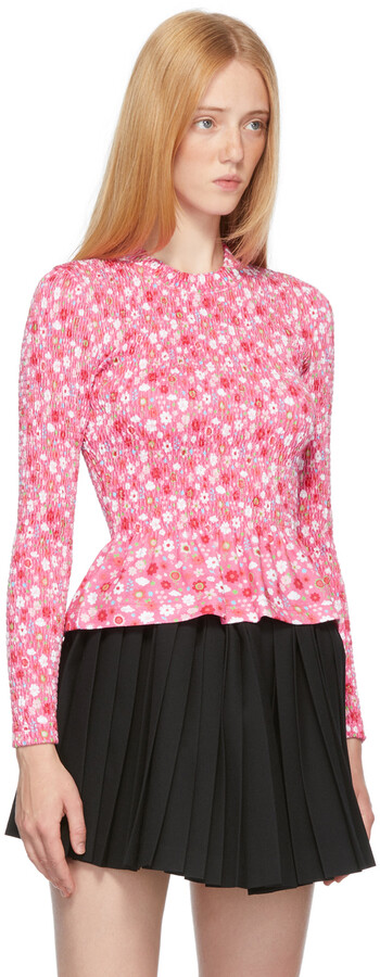 Thumbnail for your product : Balenciaga Pink Floral Smocking Long Sleeve T-Shirt