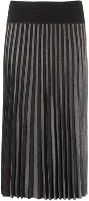 Agnona Crepe Wool Pleated Skirt