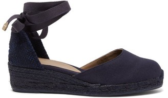 Castaner Carina 30 Canvas & Jute Espadrille Wedges - Womens - Navy