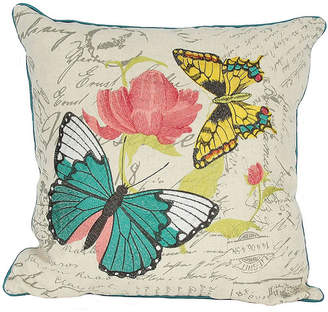 """Collection 18 Manor Luxe Papillion Emboridery Pillow Collection, 18"""" x 18"""""""
