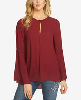 CeCe Bell-Sleeve Keyhole Top