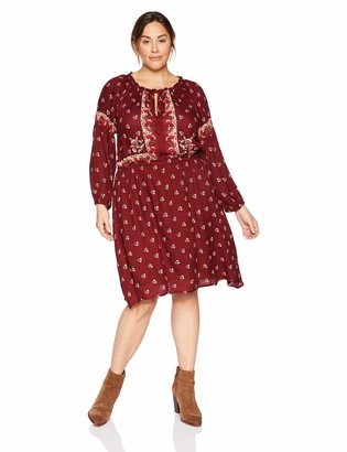 Lucky Brand Women's Plus Size Border Print Dress
