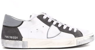 Philippe Model Anthracite And White Leather Sneakers
