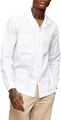 Topman Linen Revere Button-Up Shirt