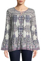 Style And Co. Printed Bell-Sleeve Top