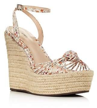 Schutz Women's Gianne Floral Leather Espadrille Platform Wedge Sandals