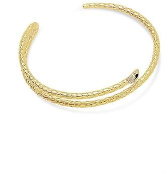 Sterling Forever 14K Plated Cz Snake Cuff Bracelet