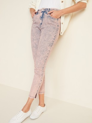 Old Navy High-Waisted Acid-Wash Rockstar Super Skinny Side-Slit Jeans for Women