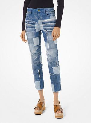 MICHAEL Michael Kors MK Patchwork Cropped Jeans - Medium Wash - Michael Kors