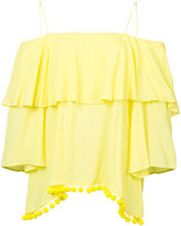 Alice + Olivia Alice+Olivia - off the shoulder pompom top - women - Viscose - S