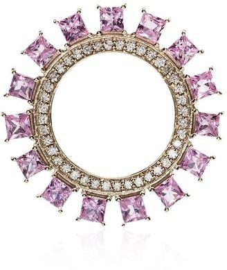 Ileana Makri 18K gold and sapphire Sun Circle earrings