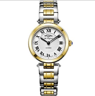 Rotary Ladies Womens Two Tone Stainless Steel Quartz Battery Watch 'Lucerne' on Bracelet with Sapphire Glass. LB90188/01
