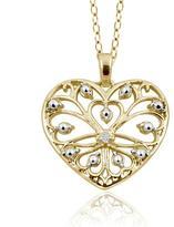 Filigree heart pendant shopstyle gold over silver filigree heart pendant necklace with diamond accents by jewelonfire aloadofball Choice Image