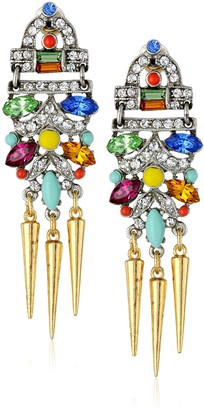 Ben-Amun Jewelry Crystal and Spike Drop Earrings