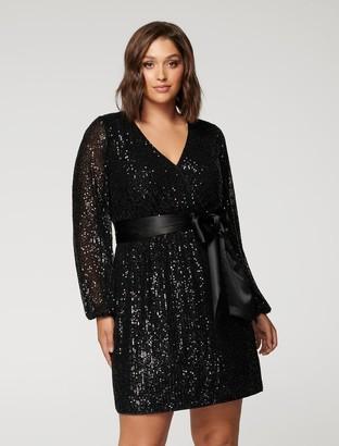 Forever New Frieda Curve Sequin Mini Dress - Black - 16