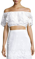 Miguelina Dakota Lace Off-the-Shoulder Crop Top, Pure White