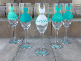 Etsy Personalized Bridesmaid Champagne Flutes, Champagne Glasses, With Dress, Maid of Honor Toasting Flut