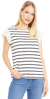 Lauren Ralph Lauren Petite Striped Ruffle Sleeve Tee (Mascarpone Cream/Lauren Navy) Women's Clothing