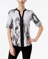 Calvin Klein Half-Zip Animal-Print Blouse