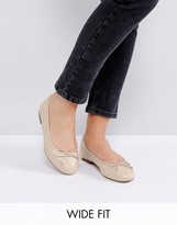 Asos LIFESAVER Wide Fit Leather Ballet Flats